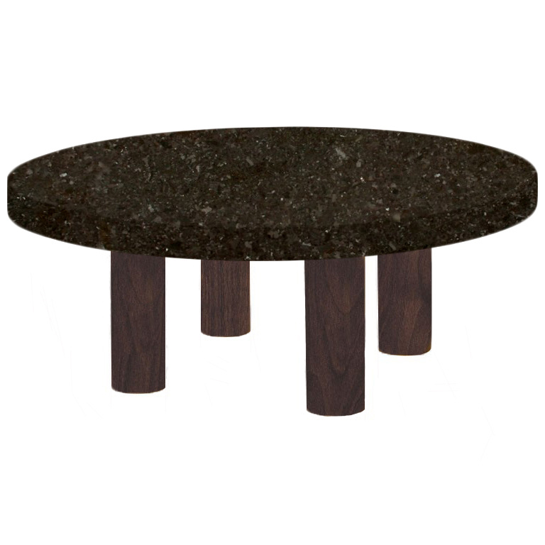 Round Antique Brown Coffee Table with Circular Walnut Legs