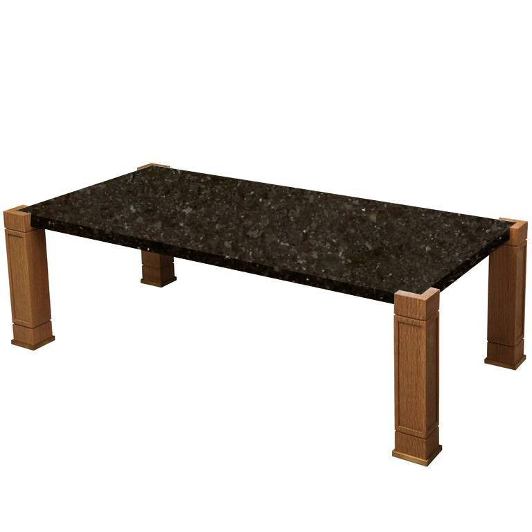 Faubourg Antique Brown Inlay Coffee Table with Oak Legs