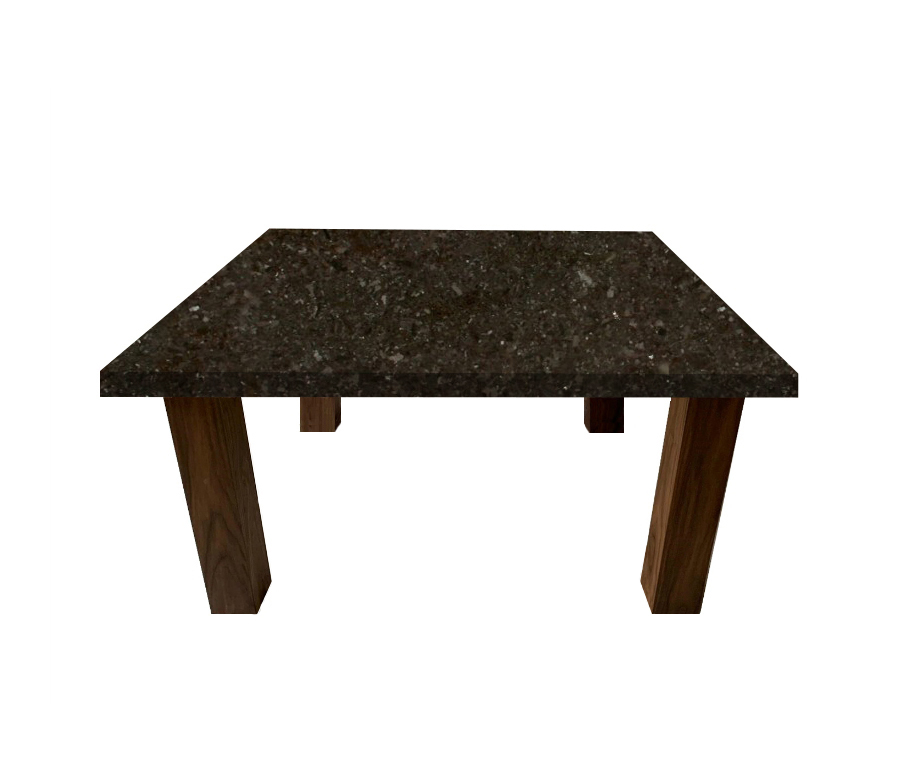 Antique Brown Square Coffee Table with Square Walnut Legs