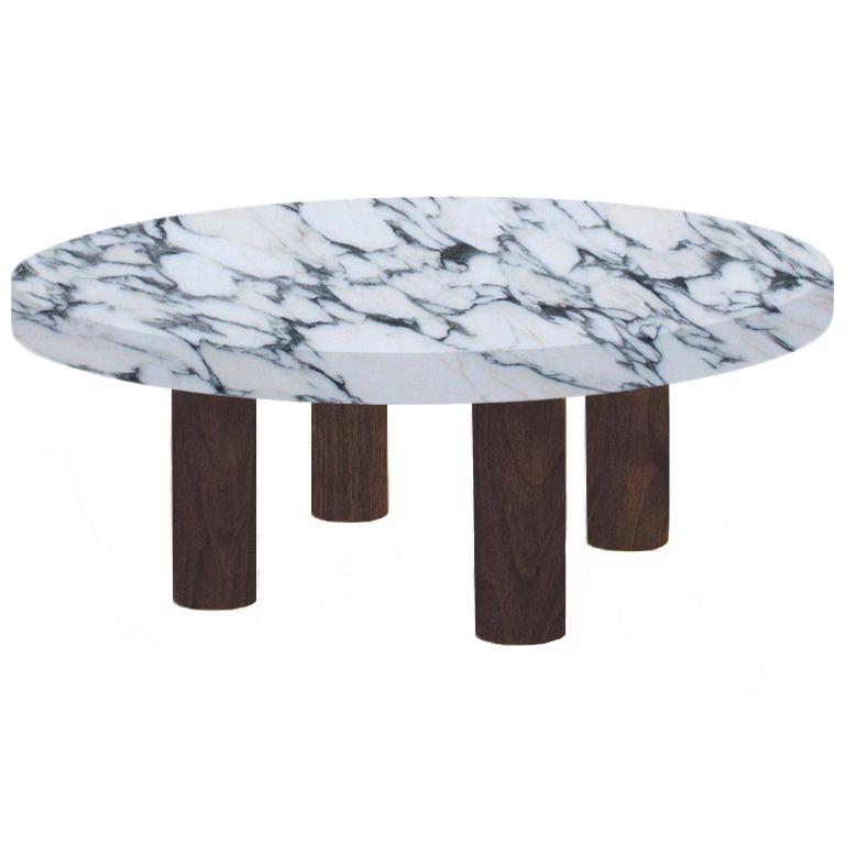 Round Arabescato Corchia Coffee Table with Circular Walnut Legs
