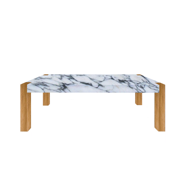 Arabescato Corchia Percopo Solid Marble Dining Table with Oak Legs