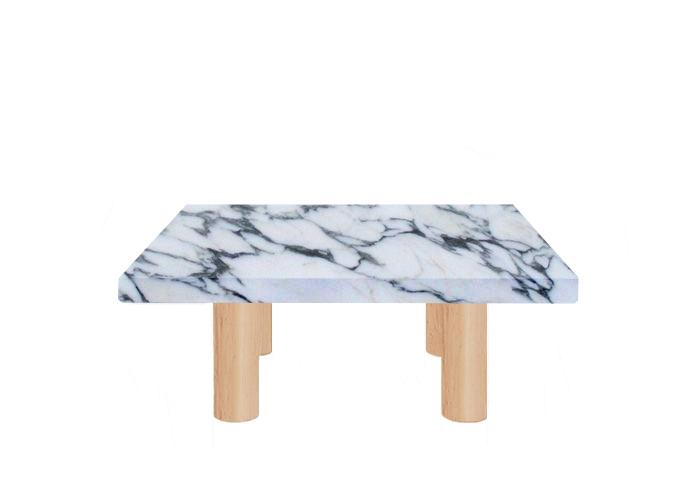 Small Square Arabescato Corchia Coffee Table with Circular Ash Legs