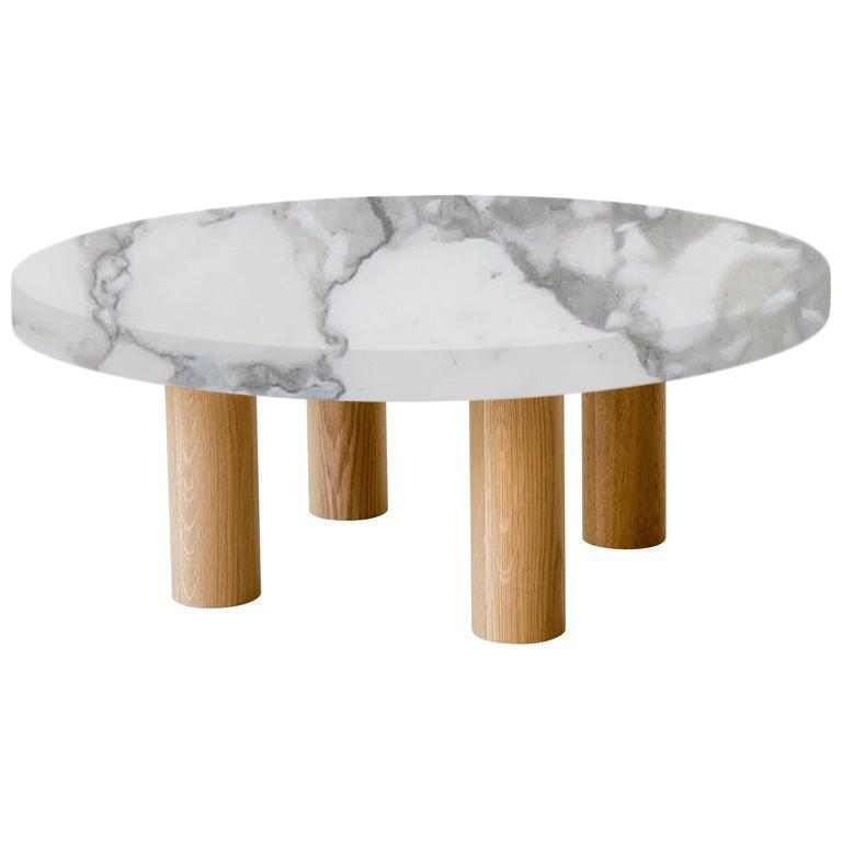 Round Arabescato Vagli Coffee Table with Circular Oak Legs