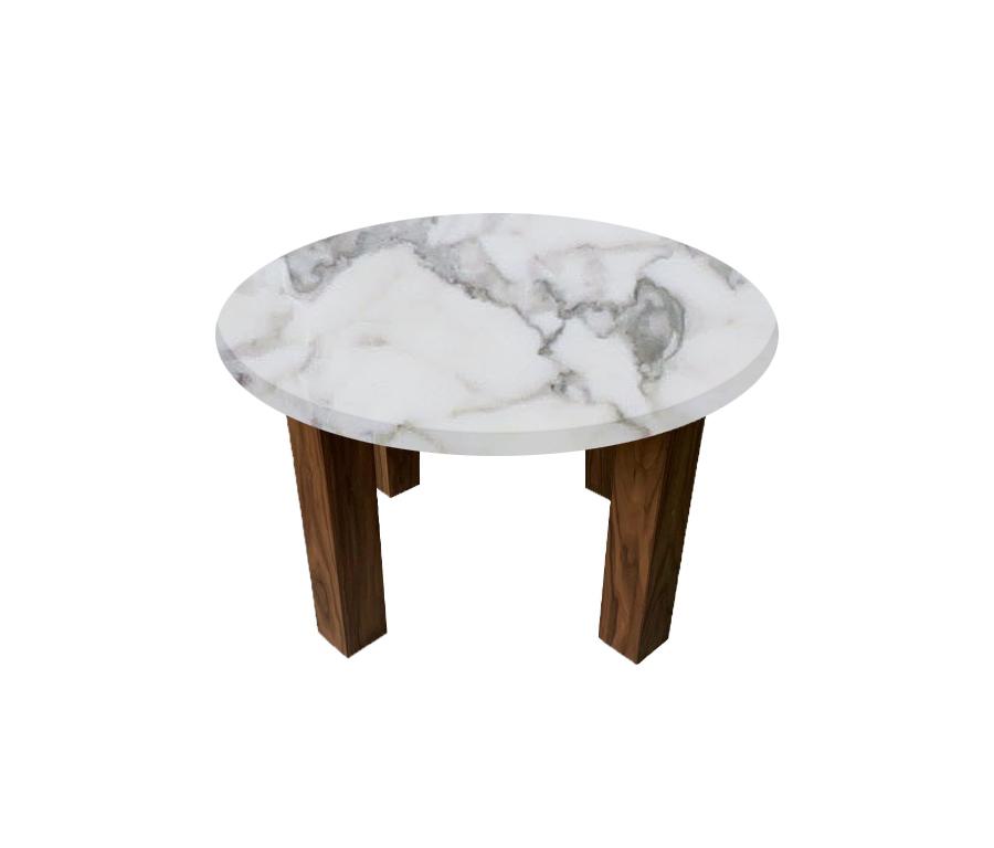 Arabescato Vagli Round Coffee Table with Square Walnut Leg
