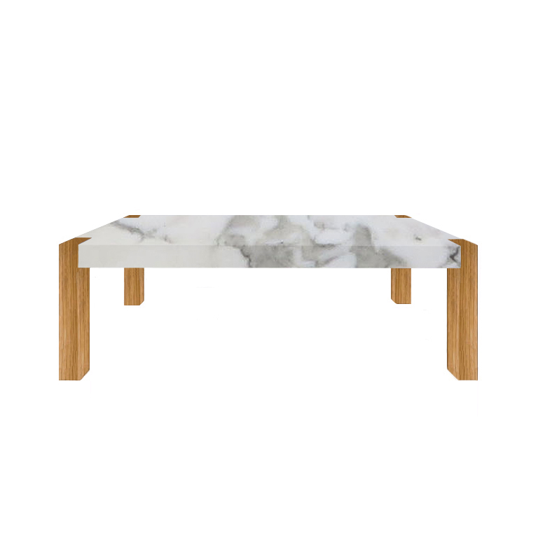 Arabescato Vagli Percopo Solid Marble Dining Table with Oak Legs