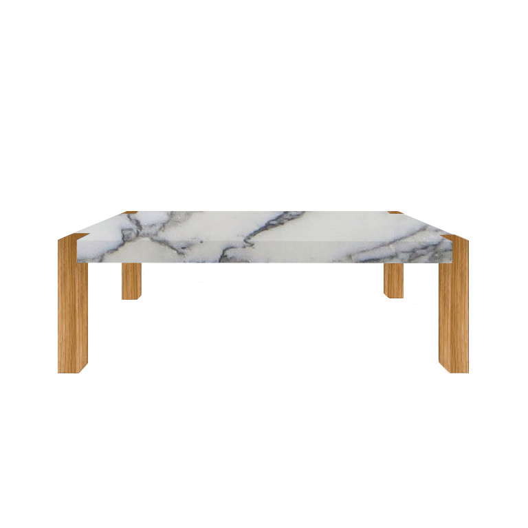 Arabescato Vagli Extra Percopo Solid Marble Dining Table with Oak Legs