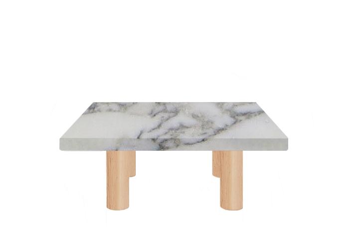 Small Square Arabescato Vagli Extra Coffee Table with Circular Ash Legs