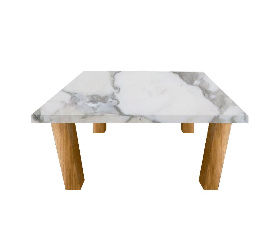 Arabescato Vagli Square Coffee Table with Square Oak Legs