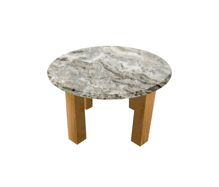 Aurora Fantasy Round Coffee Table with Square Oak Legs