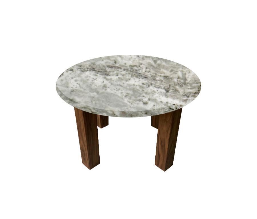 Aurora Fantasy Round Coffee Table with Square Walnut Legs