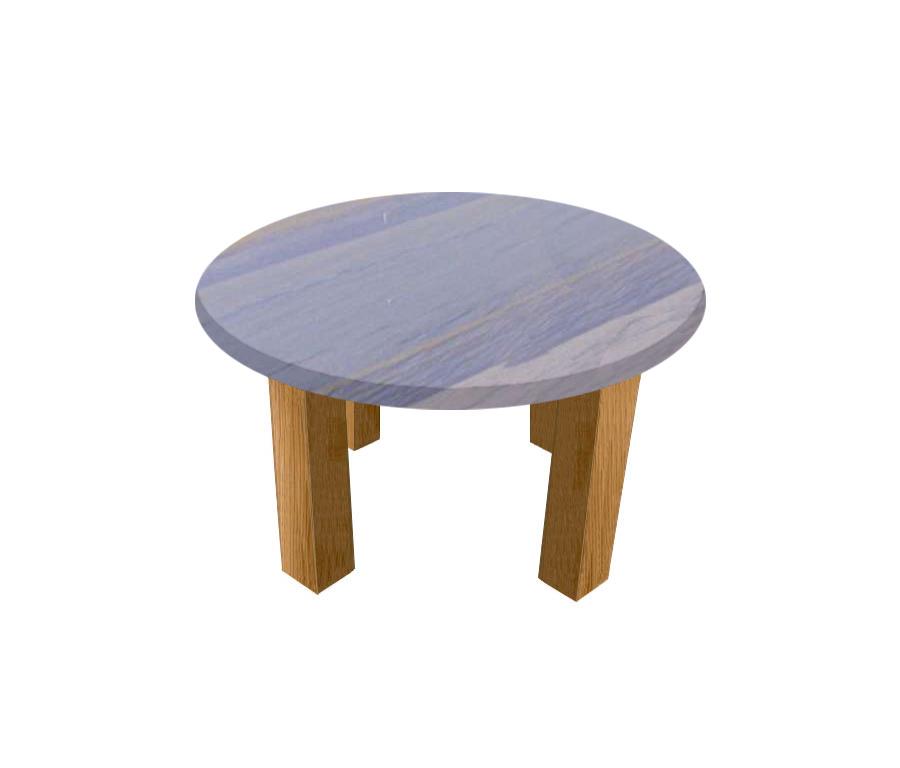 Azul Macaubas Round Coffee Table with Square Oak Legs