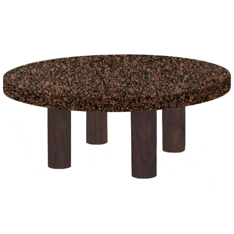 Round Baltic Brown Coffee Table with Circular Walnut Legs