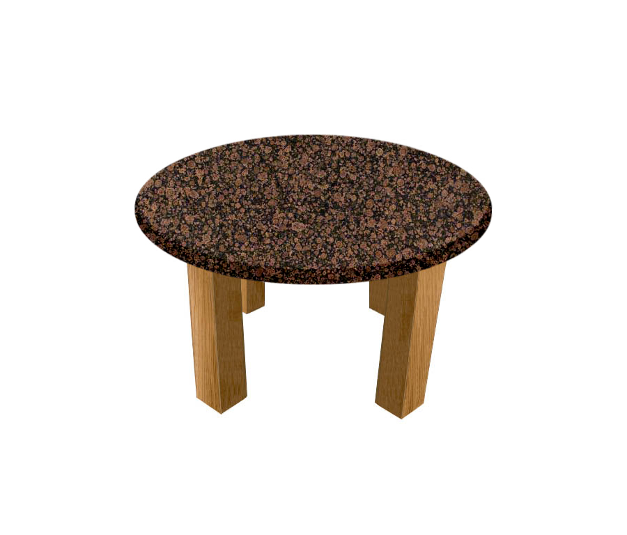 Baltic Brown Round Coffee Table with Square Oak Legs