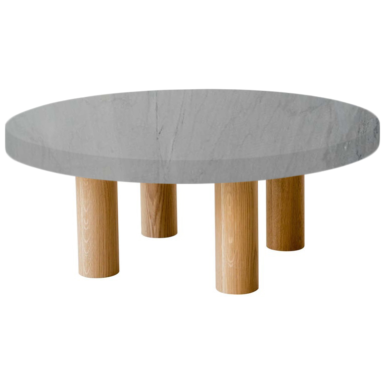 Round Bardiglio Imperial Coffee Table with Circular Oak Legs