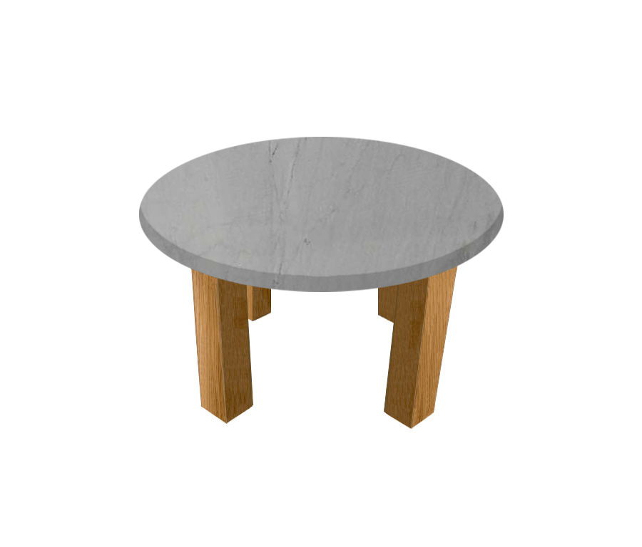 Bardiglio Imperial Round Coffee Table with Square Oak Legs