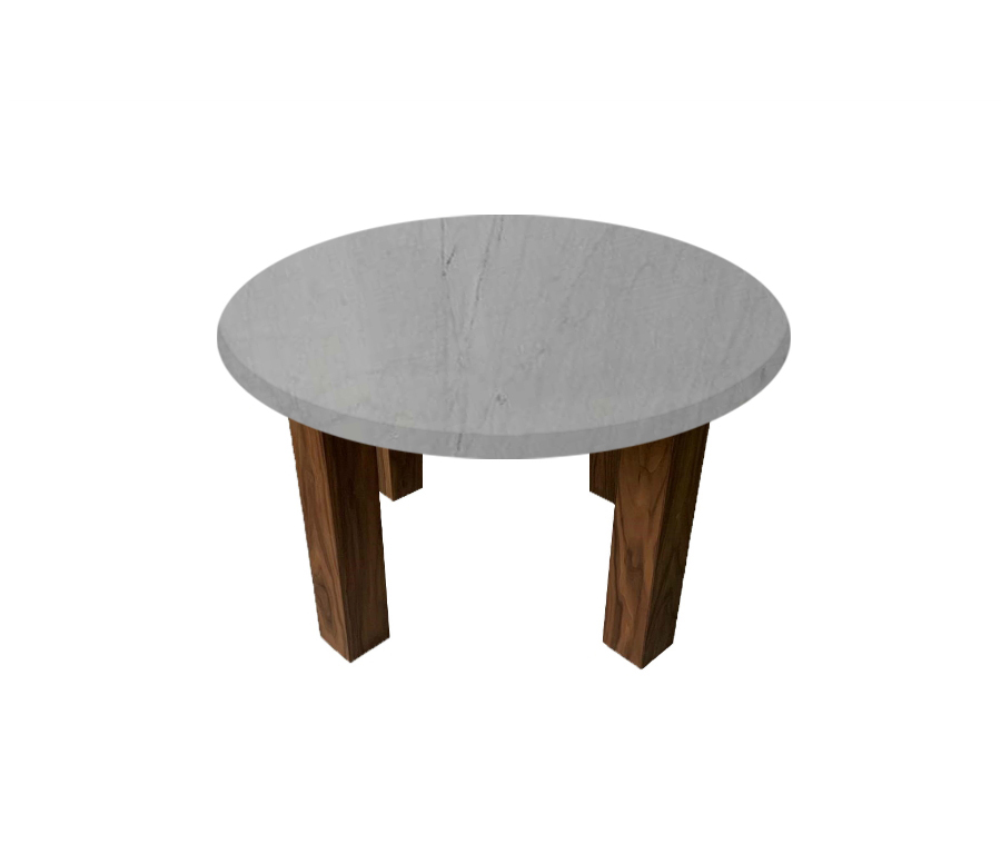 Bardiglio Imperial Round Coffee Table with Square Walnut Legs