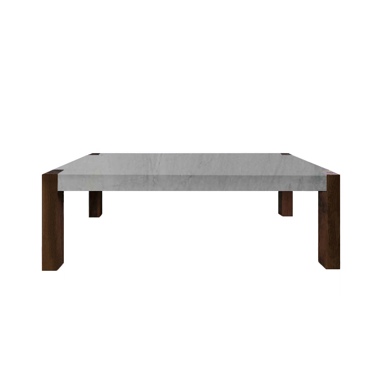 Bardiglio Imperial Percopo Marble Dining Table with Walnut Legs