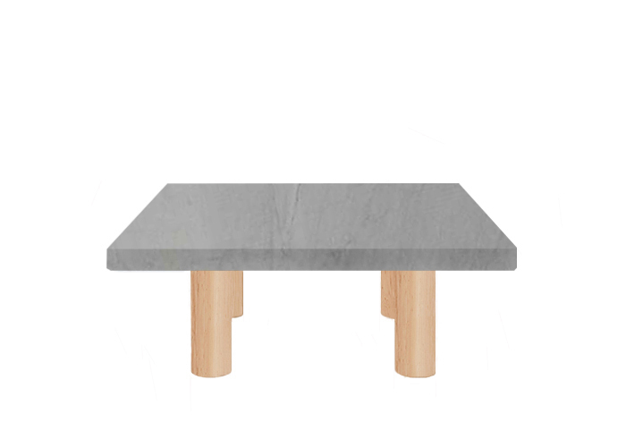 Bardiglio Imperial Square Coffee Table with Circular Ash Legs