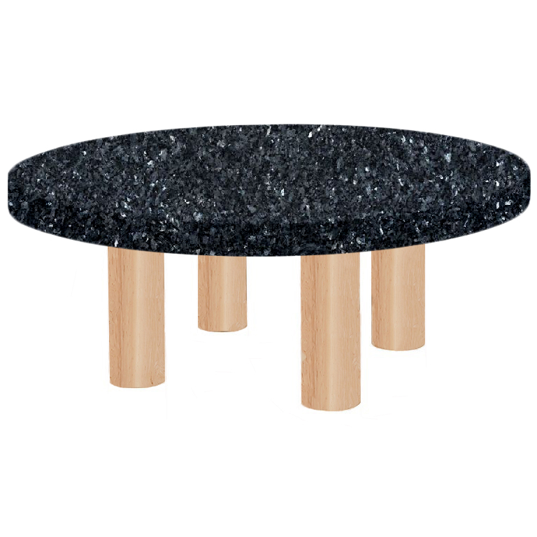 Round Blue Pearl Coffee Table with Circular Ash Legs