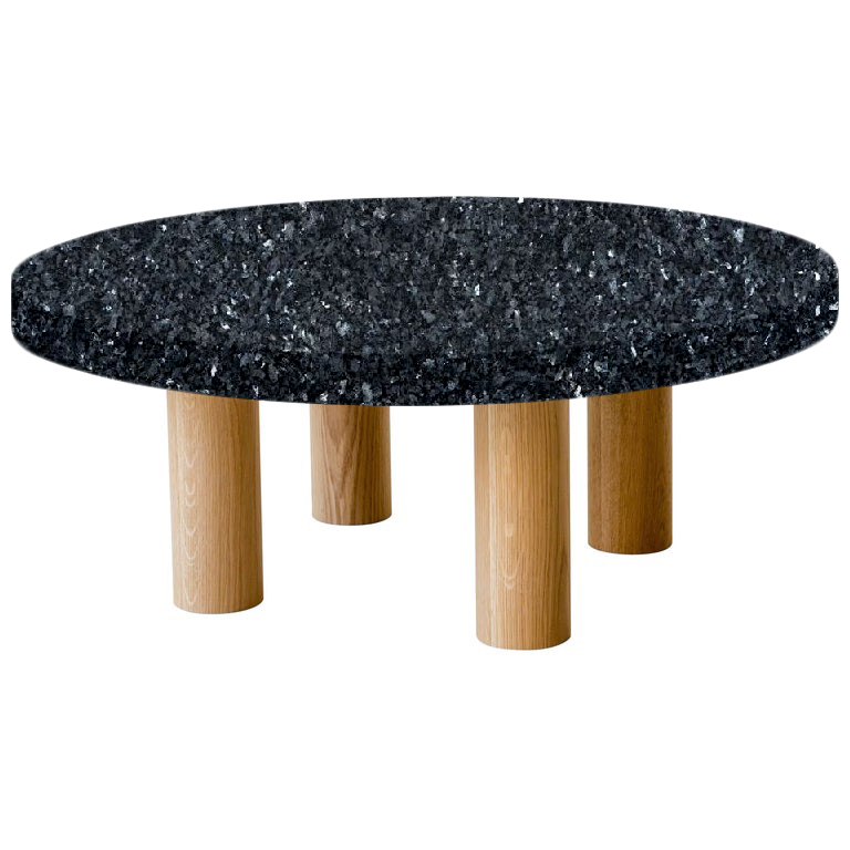 Round Blue Pearl Coffee Table with Circular Oak Legs