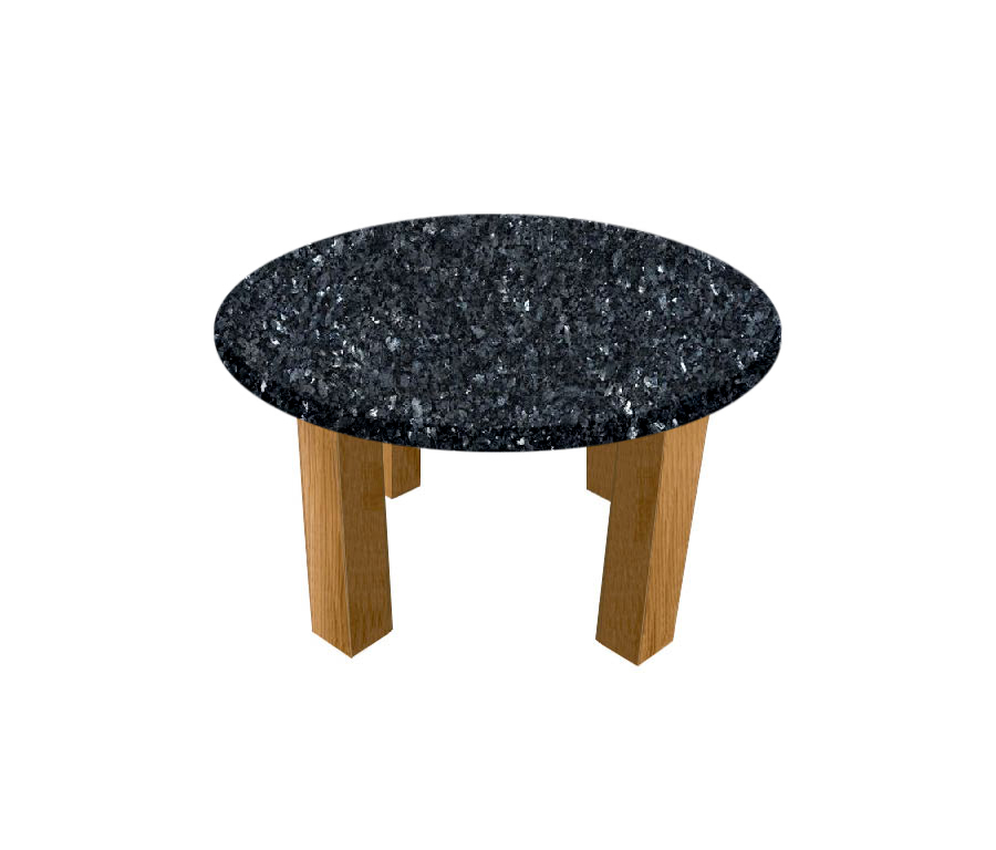 Blue Pearl Round Coffee Table with Square Oak Legs