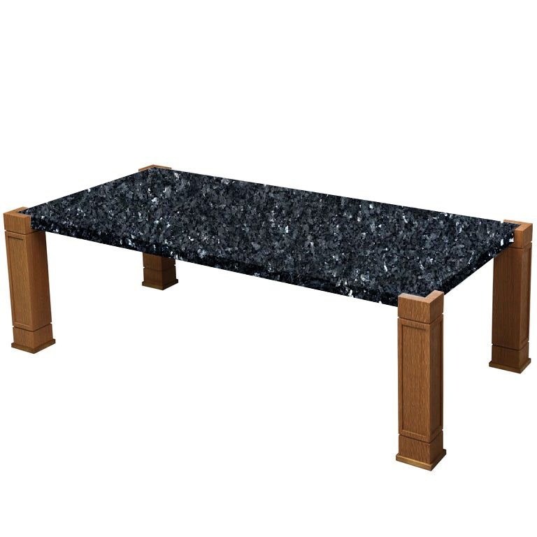 Faubourg Blue Pearl Inlay Coffee Table with Oak Legs