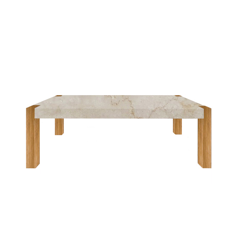Botticino Classico Percopo Solid Marble Dining Table with Oak Legs