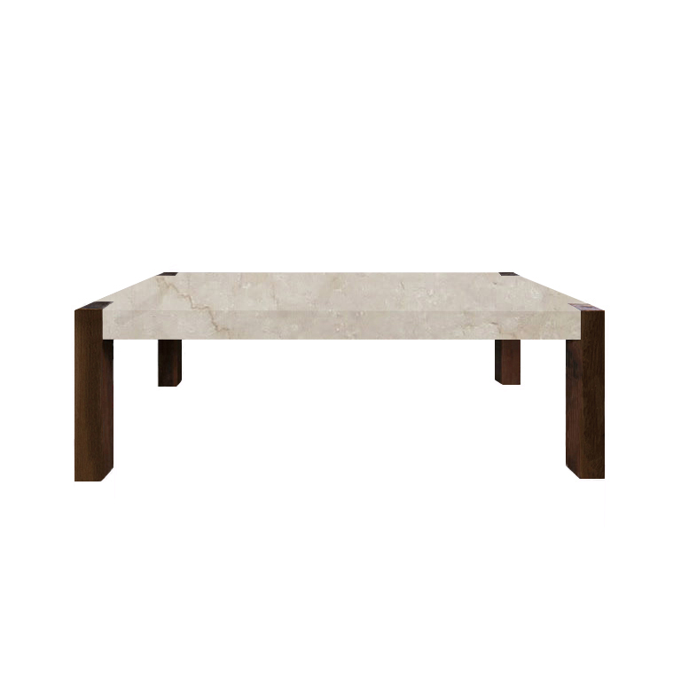 Botticino Classico Percopo Solid Marble Dining Table with Walnut Legs