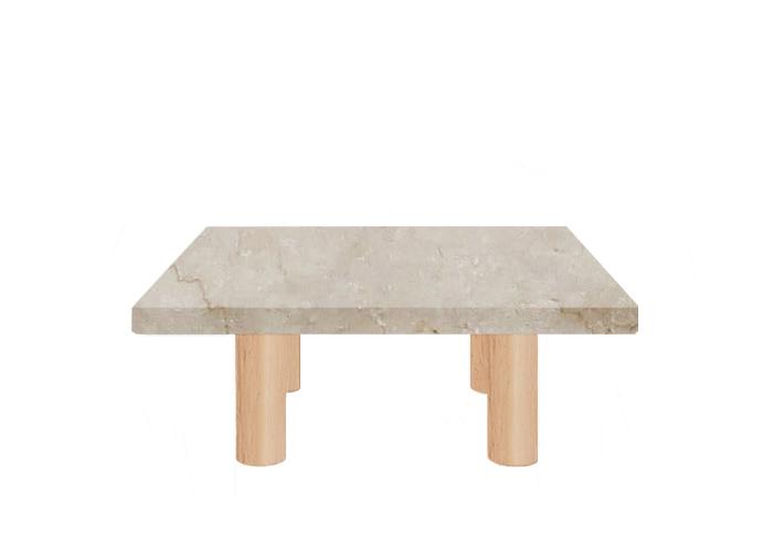 Small Square Botticino Classico Coffee Table with Circular Ash Legs