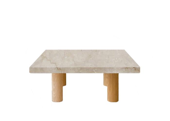 Botticino Classico Square Coffee Table with Circular Oak Legs