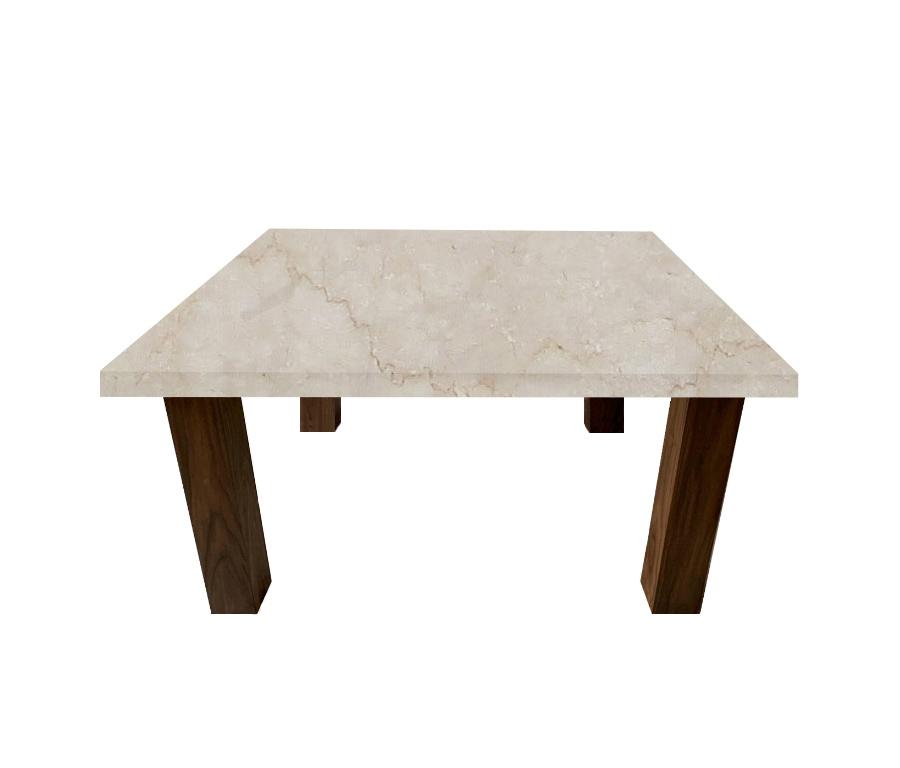 Botticino Classico Square Coffee Table with Square Walnut Legs