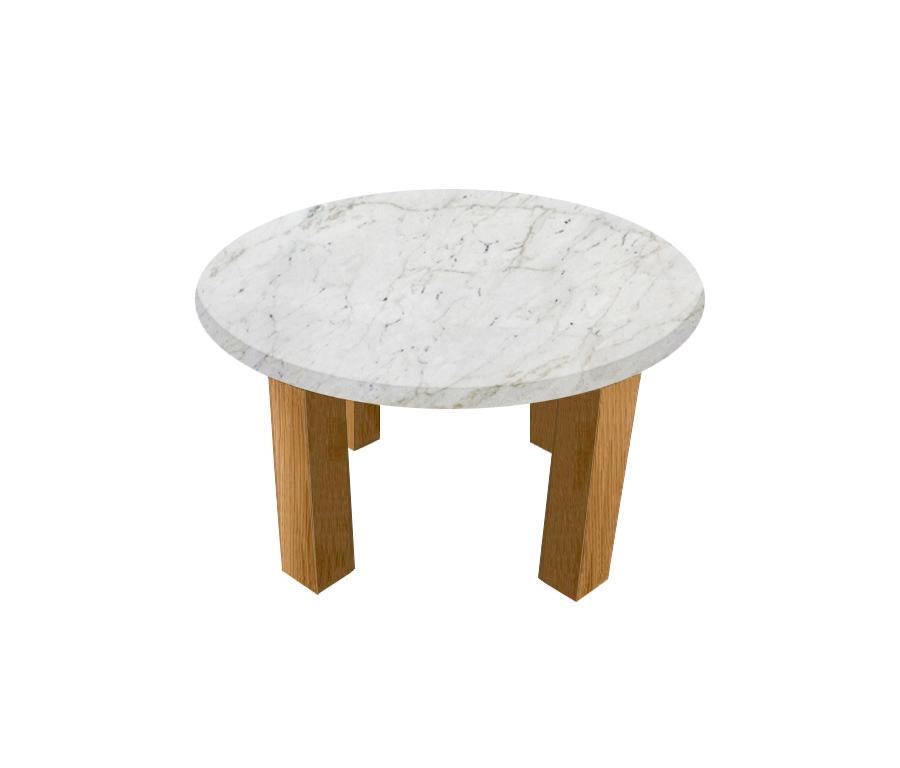 Calacatta Colorado Round Coffee Table with Square Oak Legs