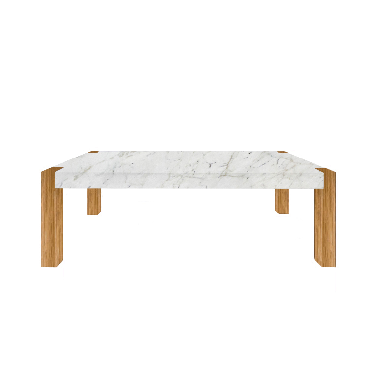 Calacatta Colorado Percopo Solid Marble Dining Table with Oak Legs
