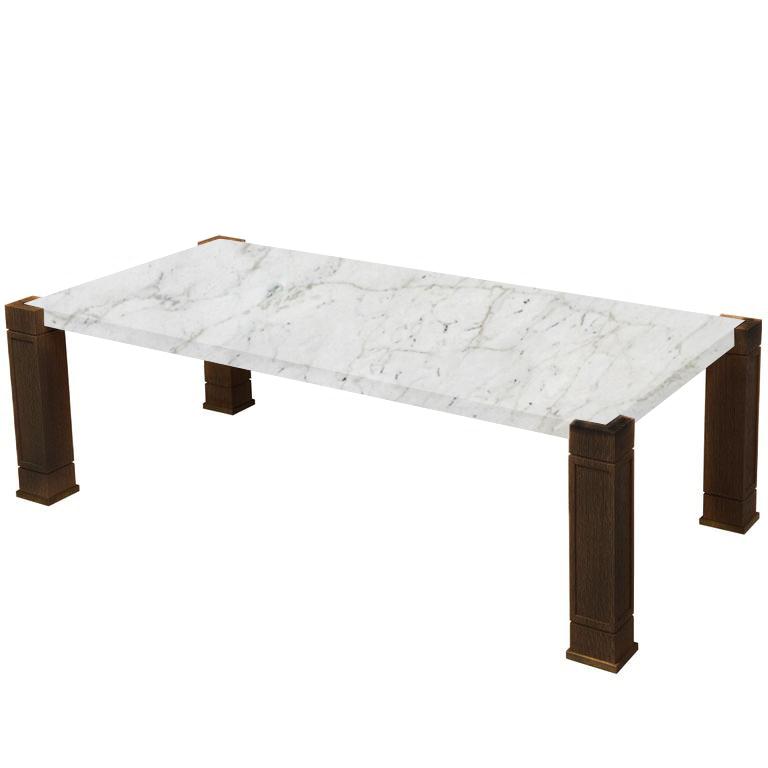 Faubourg Calacatta Colorado Inlay Coffee Table with Walnut Legs