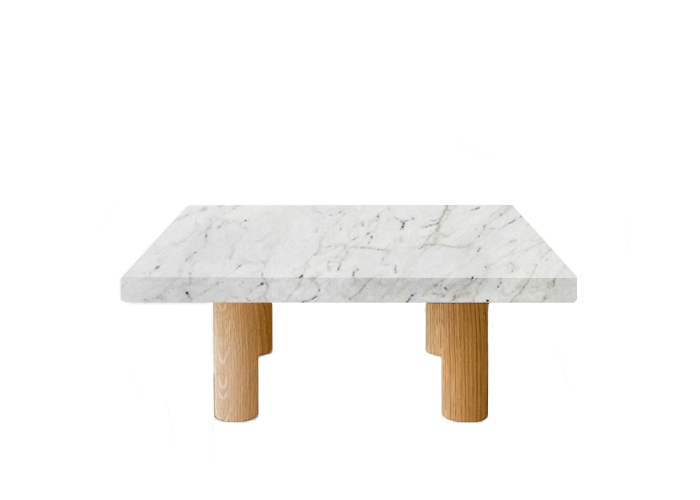 Small Square Calacatta Colorado Coffee Table with Circular Oak Legs
