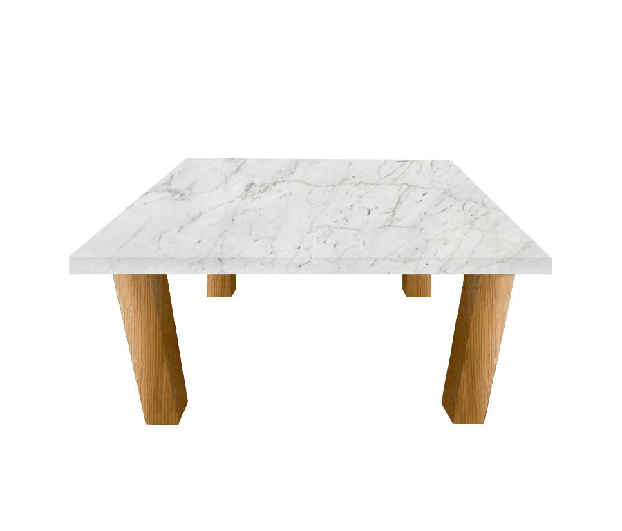 Calacatta Colorado Square Coffee Table with Square Oak Legs