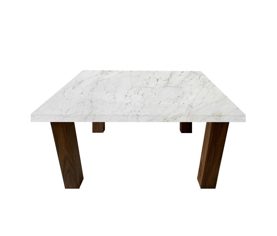 Calacatta Colorado Square Coffee Table with Square Walnut Legs