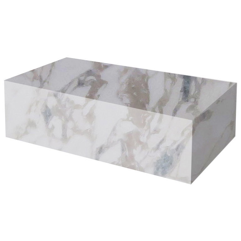 Calacatta Ivory Rectangular Solid Marble Coffee Table