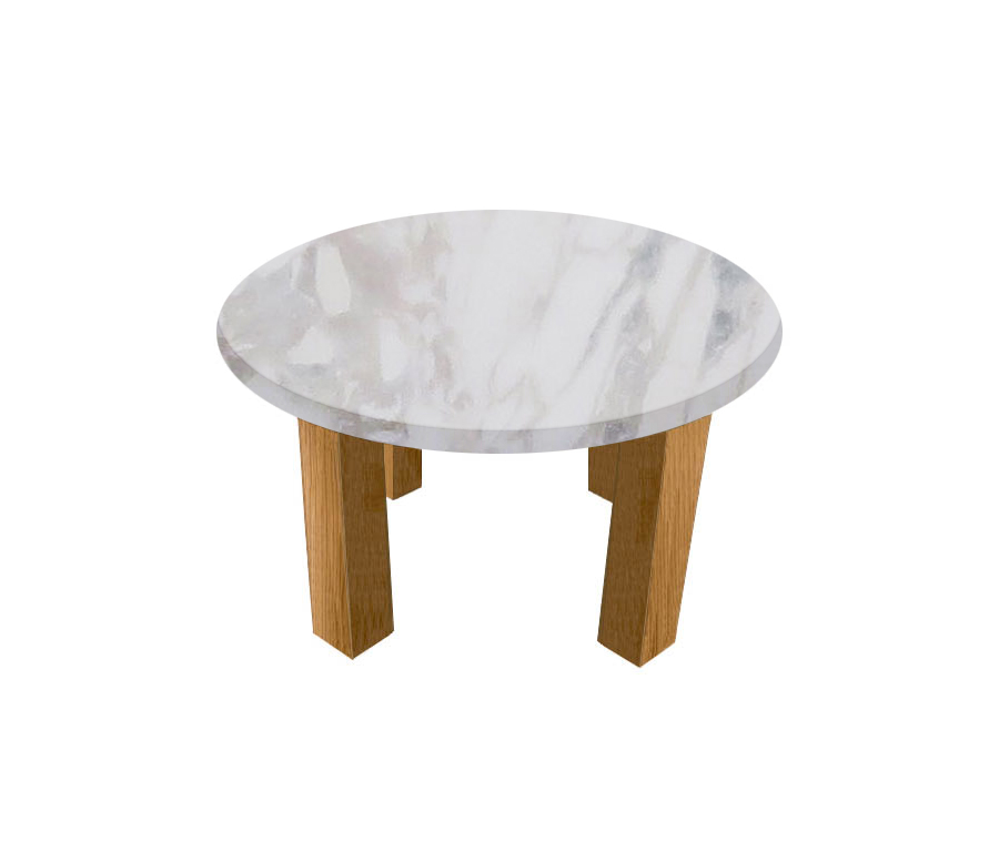 Calacatta Ivory Round Coffee Table with Square Oak Legs