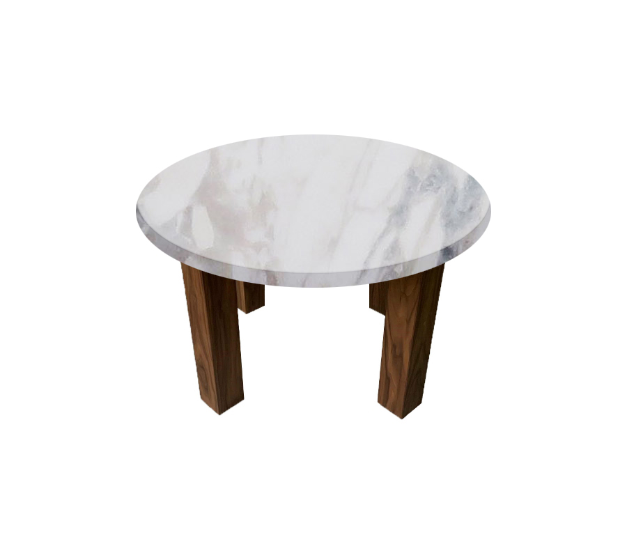 Calacatta Ivory Round Coffee Table with Square Walnut Legs