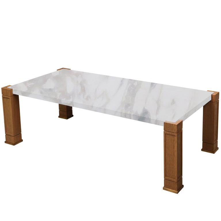 Faubourg Calacatta Ivory Inlay Coffee Table with Oak Legs