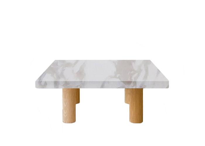 Calacatta Ivory Square Coffee Table with Circular Walnut Legs
