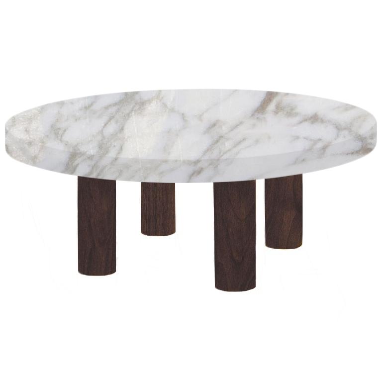 Round Calacatta Oro Coffee Table with Circular Walnut Legs