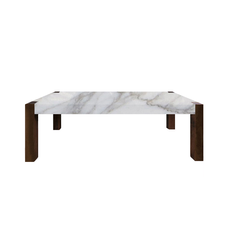 Calacatta Oro Percopo Solid Marble Dining Table with Walnut Legs