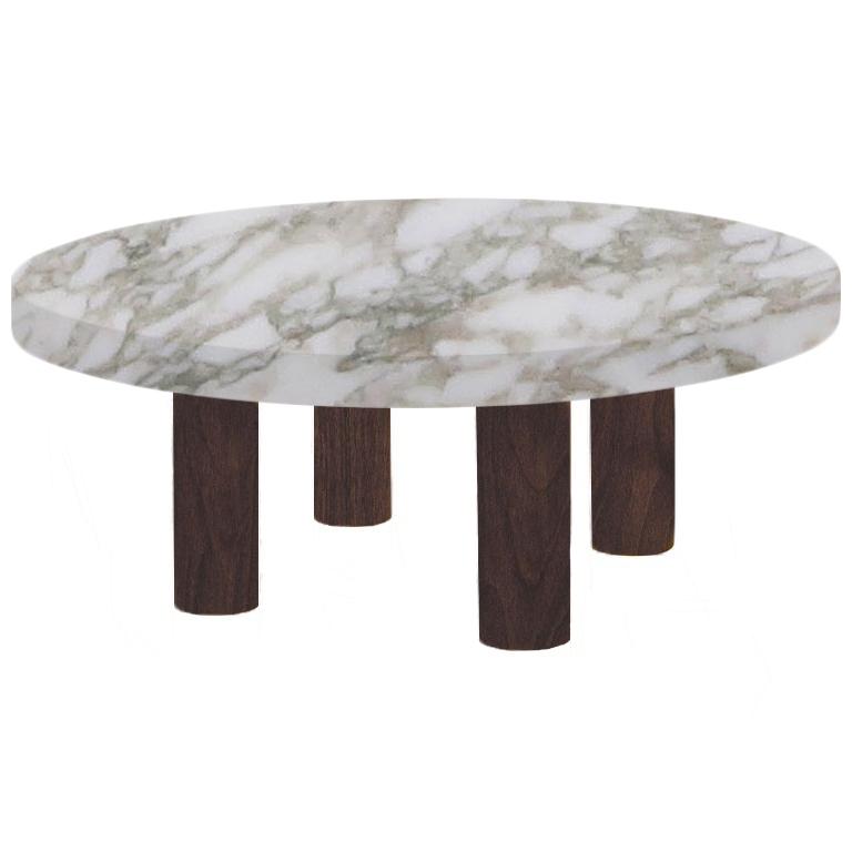 Round Calacatta Oro Extra Coffee Table with Circular Walnut Legs