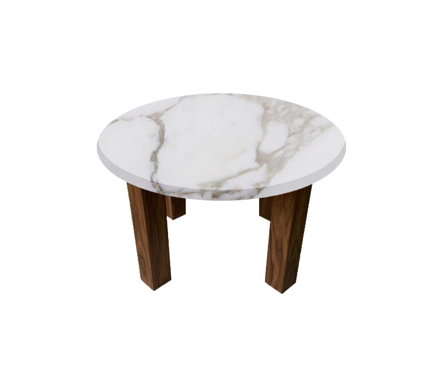 Calacatta Oro Extra Round Coffee Table with Square Walnut Legs