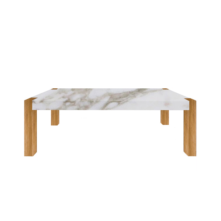 Calacatta Oro Extra Percopo Solid Marble Dining Table with Oak Legs