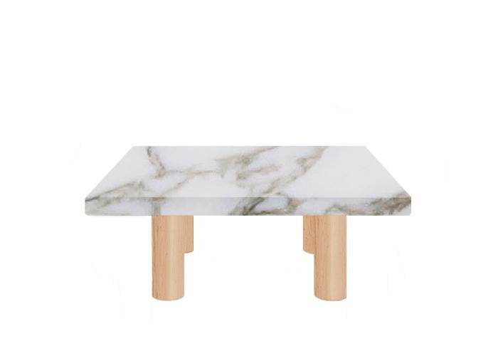Calacatta Oro Extra Square Coffee Table with Circular Ash Legs
