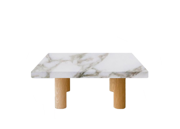 Calacatta Oro Extra Square Coffee Table with Circular Walnut Legs