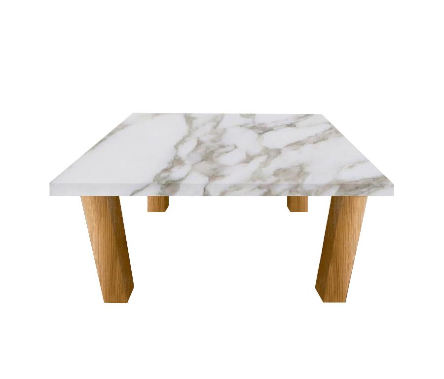 Calacatta Oro Extra Square Coffee Table with Square Oak Legs
